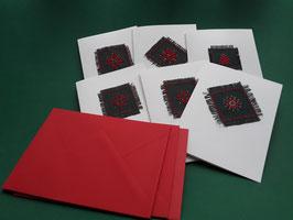6er Set Weihnachtskarten,weiß