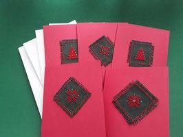 5er Kartenset rot Kreuzstich