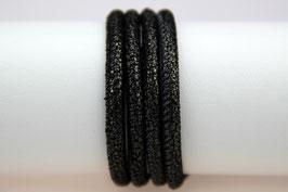 Lederband Crackle Grau-Schwarz