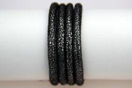 Lederband Crackle Silber-Schwarz