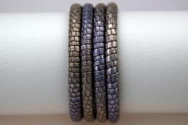 Lederband Reptilienlederprägung Blau