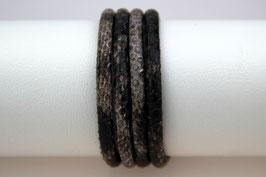 Lederband Schlangenprägung Grau