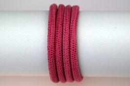 Lederband Echsenlederprägung Pink