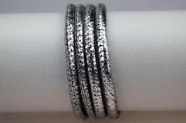 Lederband Nappaleder Silberglitter