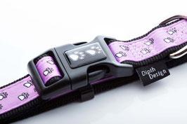"DipthDesign Hundehalsband ""Pfoten pink / rosa"""