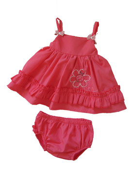 "Conjunto de bebé niña de vestido con braguitas modelo ""Flor"""