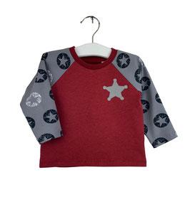 Gustav - Shirt rot mit grauen Ärmeln