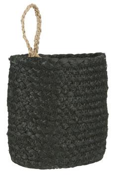 Ib Laursen Korb schwarz mit Henkel natur oval