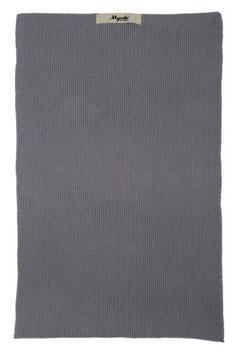 Ib Laursen Handtuch Mynte dunkelgrau gestrickt