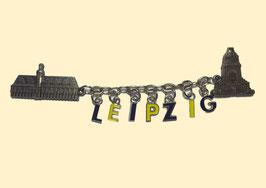 Magnet/ Relief/ Metall/ Kette mit Leipzig Buchstaben
