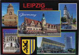 Magnet/ Leipzig mit 5 Ansichten und Stadtwappen
