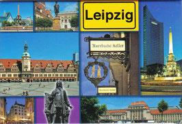 Magnet / mit Leipzig Ortsschild und 8 Ansichten