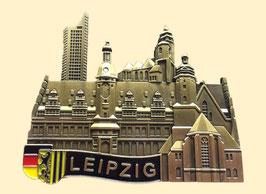 Magnet/ Relief/ Metall gold/ Uniriese, Altes Rathaus, Thomas- und Nikolaikirche