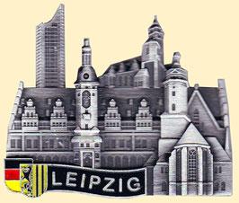 Magnet/ Relief/ Metall silber/ Uniriese, Altes Rathaus, Thomas- und Nikolaikirche