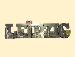 Magnet/ Relief/ Metall/ Schriftzug Leipzig mit 5 Sehenswürdigkeiten