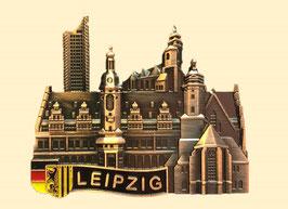 Magnet/ Relief/ Metall bronze/ Uniriese, Altes Rathaus, Thomas- und Nikolaikirche
