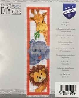 Bladwijzer borduurpakket met een leeuw, olifant en een giraf.