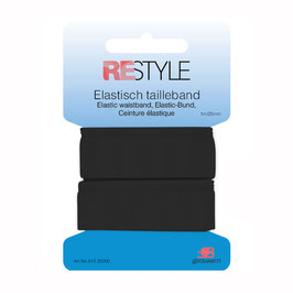 Zwart elastisch tailleband 25 mm