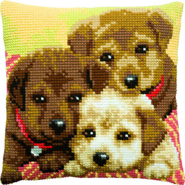 Puppies kruissteek borduurkussen