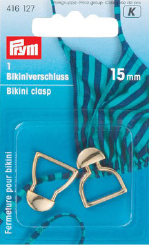 Bikini sluiting van Prym 15 mm goudkleur