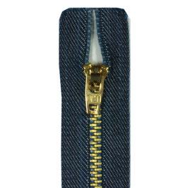 Jeans kleur rits met goud kleur tanden