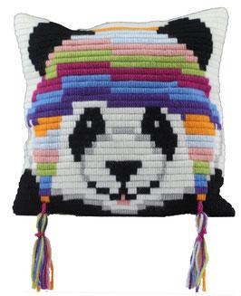 Korte platsteek borduurpakket van een panda met slaapmuts