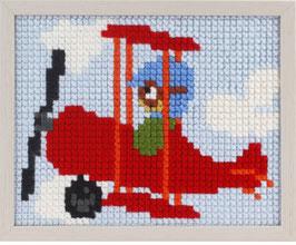 Rood vliegtuig voorbedrukt borduurpakket voor kinderen