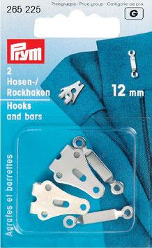 Rok-broek haken zilver  12 mm