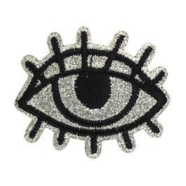 Zilver glitter oog applicatie