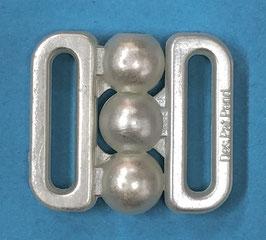 Bikini sluiting 10 mm wit kunststof met 3 bolletjes