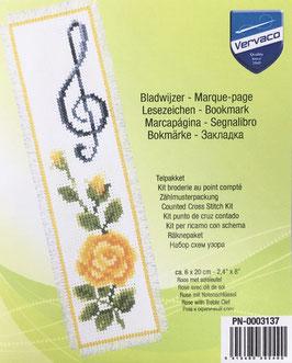 Bladwijzer borduurpakket van een gele roos met een muziek sleutel.