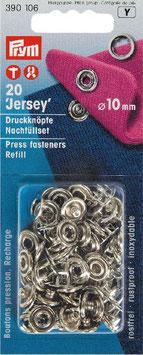 Drukknopen inslaan zilver kleur voor tricot navulling open ring 10 mm