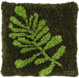 Groen blad knoopborduurkussen