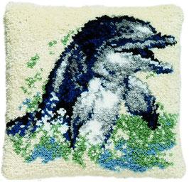 Dolfijn knoopborduurkussen