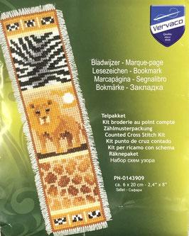 Bladwijzer borduurpakket van een leeuw met dieren printen