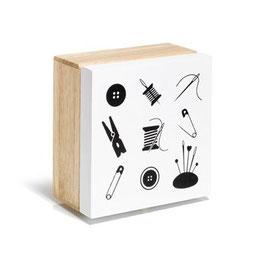 Prym houten box met een print van naai benodigdheden
