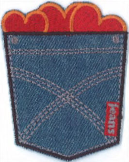 Jeans pocket met hartjes applicatie