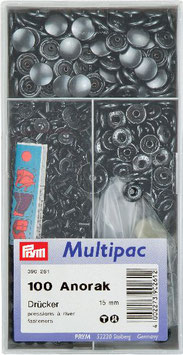 Drukknoop inslaan antraciet kleur 15 mm grootverpakking