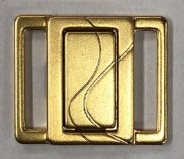 Bikini sluiting vierkant met dubbele s vorm erop 15 mm goudkleur