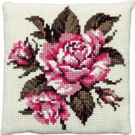 Roze/rode rozen kruissteek borduurkussen