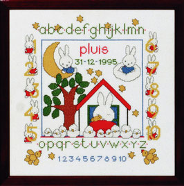 Nijntje geboortetegel met een huisje en boom borduurpakket