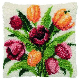 Tulpen knoopborduurkussen