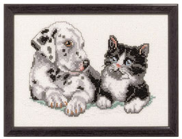Borduurpakket van een Dalmatiër en een kat.