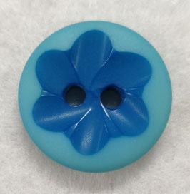Kleine ronde 2 gaats blauwe knoop met een donkerdere blauwe bloem in het midden