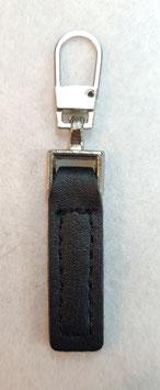 Zilverkleur metaal met zwart imitatieleer ritsenschuivertrekker