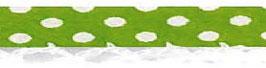 Bolletjes biaisband met een kantje licht groen