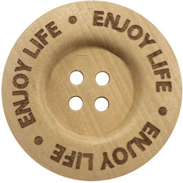 Houten knoop van Durable met de text enjoy life 40 mm