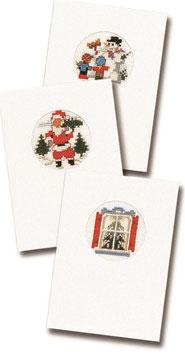 3 borduurkerstkaarten inclusief 3 enveloppen sneeuwpop/kerstman/kerstboom