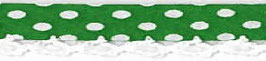 Bolletjes biaisband met een kantje donker groen