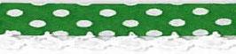 Bolletjes biasband met een kantje donker groen
